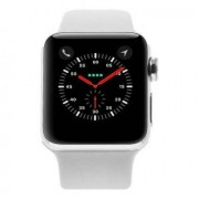 Apple Watch Series 2 - boîtier en acier inoxydable argent 38mm - bracelet sport blanc