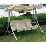 Outsunny 3-Seater Swing Chair W/Cushions, 199x127x162 cm-Cream