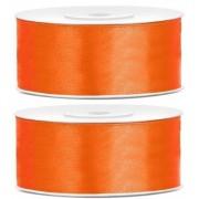 Geen 2x Cadeaulint oranje 25 mm
