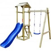 vidaXL Detské ihrisko z borovicového dreva so šmýkačkou, rebríkom a húpačkou, 237x168x218cm (43265+91222+90980)