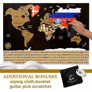 Scratch Off World Map Poster - With Country Flags, for Travel, Education, and Fun - Includes FREE Guitar Pick Scratcher, Educational Geography Book + Microfiber Wiping Cloth by Mr. Columbus by Mr Columbus
