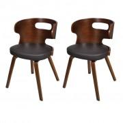 vidaXL Трапезни столове, 2 бр, дървена рамка, кафяви, изкуствена кожа
