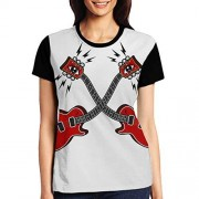 qingdaodeyangguo Playera de Manga Corta para Mujer, Guitarra eléctrica, XXL