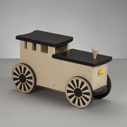 Kids Wooden Riding Toy, Ride On Train - South Bend Woodworks Express Natural/Black Engine