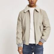 River Island Mens Oatmeal Grey melange borg collar jacket (XL)