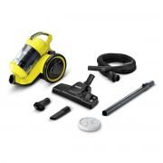 Aspirator fara sac Karcher VC 3 Premium 11981250, 700 W, 0.9 L, Tehnologie multi-cyclon, Filtru HEPA, Pensula mobila, Clasa A, Negru/Galben