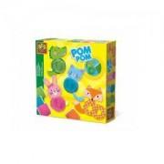 Детски забавен комплект за игра, Животни от помпони SES, 0814003