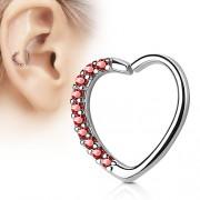 Helix piercing Hartje met rode Kristal