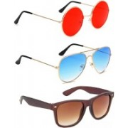 Elligator Round, Aviator, Wayfarer Sunglasses(Red, Blue, Brown)