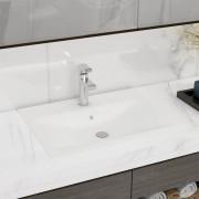 vidaXL Luksuzni Keramički Pravokutni Umivaonik s Otvorom za Slavinu Bijeli 60 x 46 cm