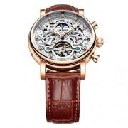 Baosity Reloj Mecánico Automático Correa de PU Cuero Esfera de Diamantes de Imitación Diseño Lujo Marrón + Blanco + Oro Rosa