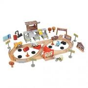 KIDKRAFT Disney Pixar Cars 3 Thunder Hollow 50 Piece Wooden Track Set with Accessories