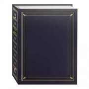 Pioneer 3-Ring Bound Bay Blue Leatherette Cover with Gold Accents Photo Album for 4 by 7-Inch, 5 by 7-Inch and 8 by 10-Inch Prints
