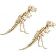 Merkloos 2x Bouwpakket hout Tyrannosaurus dinosaurus 3D puzzel