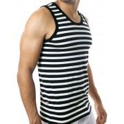 Clever Navy Stripes Tank Top Black T Shirt 7004 USA2