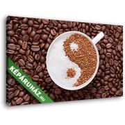 Egy csésze kávé, jin és jang díszítéssel (40x25 cm, Vászonkép )