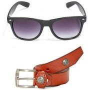 Magjons Brown Leather Belt and black wayfarer sunglasses Combo MJB1103