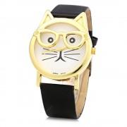 Japan Quartz Watch Cat Shape Dial with Glasses for Women