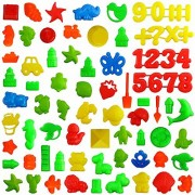 Kuqqi 75 Piece Deluxe Sand Molds Set - Safari Animals, Mini Castles, Animals, Marine Animal, Military Model, Number and Flowers and Plants (Sand Not Included)