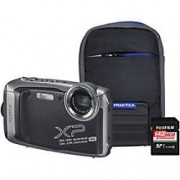 Fuji Digital Camera Finepix XP140 16.4 Megapixel Graphite + Bumper Case + 64GB SD Card