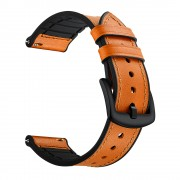 Genuine Leather Coated Silicone Smart Watch Strap [20mm Width] for Huawei Watch GT2 42mm - Light Brown