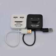 Onloon Micro / USB 2 En 1 Conector Y 2 Puertos USB 2.0 Hub Con SD / TF Lector De Tarjetas, Función De Soporte OTG Compatible Con Galaxy S3 / S4 / S5 / S6 / NOTA 2/3, Negro