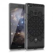 kwmobile Průhledné pouzdro s designem orientální květ pro Huawei P9 Lite - černá