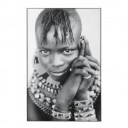 Maisons du Monde Cuadro de foto de plexiglás con estampado de retrato blanco y negro 80x120