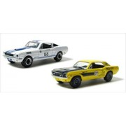Road Racers 1967 Ford Mustang & 1965 Shelby GT-350 2pc Car Set WITH CASES 1/64 by Greenlight 24630M