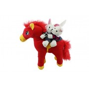 Tickles Red Horse Riding Romantic Lovable Couple Valentine Stuffed Soft Plush Toy for Kids 25 cm