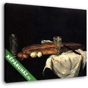 Paul Cézanne: Csendélet kenyérrel és tojással (30x25 cm, Vászonkép )