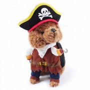 Party Pet Clothes Cat Dog Upright Pirate Dog Jumpsuit Police Doctors Standing Cosplay Turned Dresses Clothing - Black