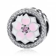 Charm argint 925 cu floare roz si zirconii albe - Be Nature PST0049