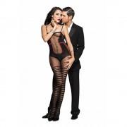 Music Legs Catsuit Met Body En Kousen Design - Zwart/Rood