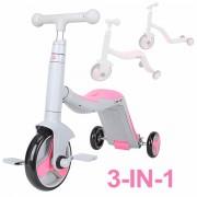 Trotineta multifunctionala, Honor, 3 in 1, Gri/Roz, transformabila in tricicleta sau balance bike, cu lumini si muzica