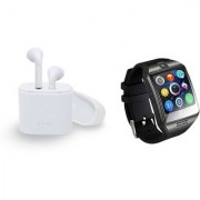I7 Twins Blutooth Headset and Q18 Smart Watch|TWS Earbuds Headsets Double Twins Stereo Music Earphone Bluetooth Headset with Mic|L91