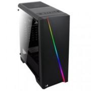 Кутия AeroCool Cylon BG RGB, ATX/Micro-ATX/Mini-ITX, USB 3.0, RGB, 1x 120mm вентилатор, прозорец, черна, без захранване