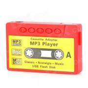 reproductor de MP3 de estilo cinta de cassette con conector de 3.5 mm + ranura TF + mini USB + auricular - rojo + amarillo