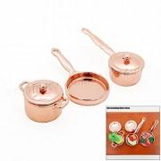 Odoria 1:12 Miniature Kitchenware Kit Frying Pan Boiler Set Dollhouse Kitchen Accessories