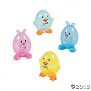 Transparent Chick & Bunny Plastic Easter Eggs, Dozen, Assorted Colors