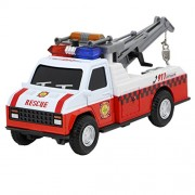 1:28 Scale Emergency Fire Engine Rescue Crane Truck with Flashing Light & Sound Pull Back Vehicle Toys Toddler Kids Diecast Metal Playset Car Toy Christmas Gift for Child Girls Boys