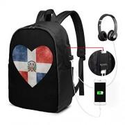 Neheshihonkio Mochila con bandera de corazón dominicana USB para la escuela, bolsa de viaje, bolsa de computadora, Negro, Una talla