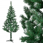 [en.casa]® Изкуствена коледна елха с изкуствен сняг и стойка - 150 см.