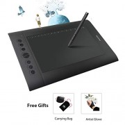 Huion H610 Pro Graphic Drawing Tablet 8192 Pen Pressure Sensitivity Carrying Bag Glove