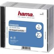 Кутийка за CD/DVD HAMA Double Jewel Case, прозрачен/черен, 5 бр. в пакет -