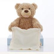 Pipihome 30Cm Peek a Boo Teddy Bear Lay Hide and Seek Cartoon Plush Toy Cute Music Doll Best Christmas Gift