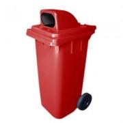 Cesto Gari Tampa Especial - Vermelho - Rodas 200mm - 240 Litros - Bralimpia