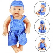 Baby Doll, 9.8'' Lovely Adorable Simulated Baby Doll Vinyl Realistic Reborn Dolls Toys Gifts (Blue)