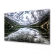 Tablou Canvas Premium Peisaj Multicolor Nori oglinditi in apa de langa padure Decoratiuni Moderne pentru Casa 80 x 160 cm