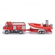 Пожарен камион с ремарке и лодка SIKU, Метал, 1636